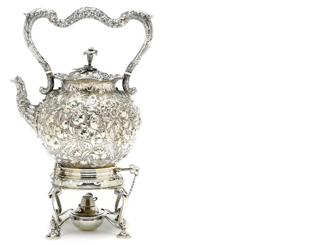 A Baltimore 11 oz silver  floral chased kettle  S. Kirk & Son, Baltimore, MD,  circa 1880-1890