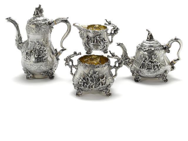 A William IV sterling silver assembled and matching four piece tea and coffee service Edward Farrell, London, 1830, 1832, 1833, all retailed by Lewis, St. James St., London