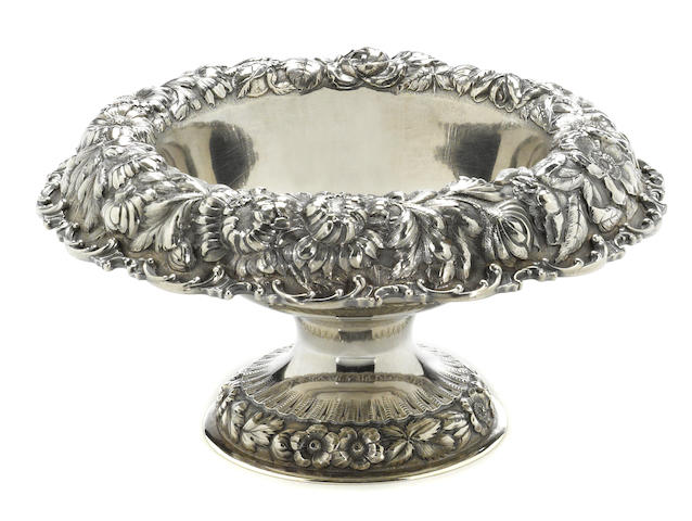 A sterling centerpiece bowl with floral chased borders The Stieff Co., Baltimore, MD, dated 1927  # 267, monogrammed: JW