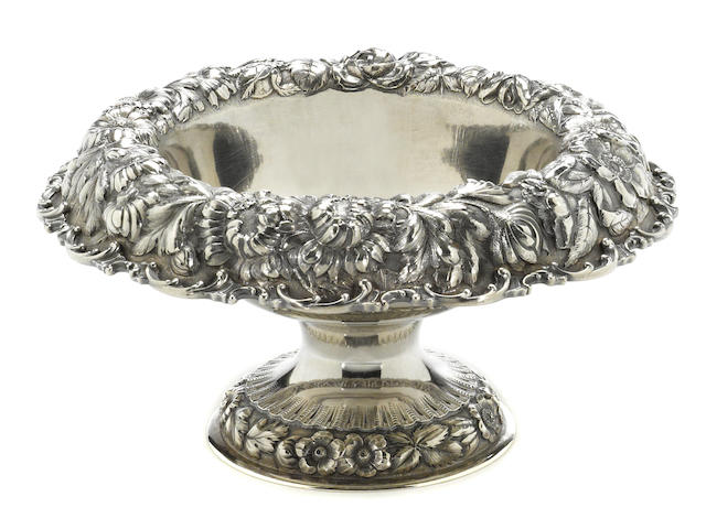 A sterling centerpiece bowl with floral chased borders The Stieff Co., Baltimore, MD, dated 1927 <BR /># 267, monogrammed: JW
