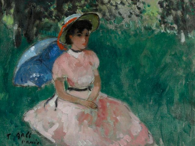 François Gall (French, 1912-1987) Eugénie assise au bord de la Seine, c. 1951-53 18 x 21 3/4in