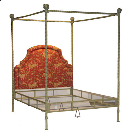 An Italian Baroque style painted upholstered bed