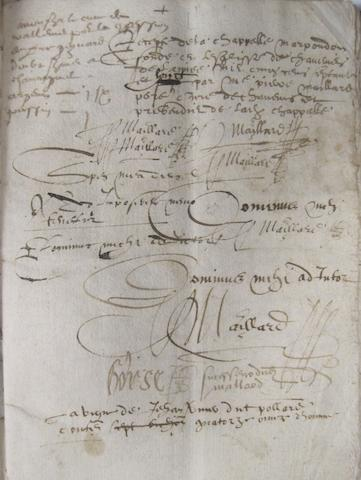 "FRANCE—RENT BOOK. Manuscript, 58 pp recto and verso, 4to, [Chaneins, Ain, c. 1575-1585], in brown ink, bound in period limp vellum and titled on the cover, ""Recette des levees deus[?] a la Rente de la Chapelle fondée en Leglises de Chaneins."""