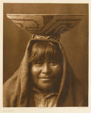 Edward S. Curtis (American, 1868-1952); (three photogravures),Pima Matron, An Offering at the Waterfall, The Fire Drill; (3)