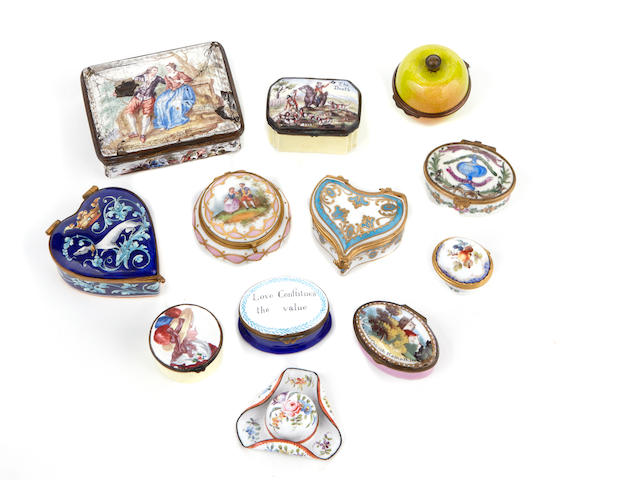 An assembled group of English and Continental enamel snuff and patch boxes