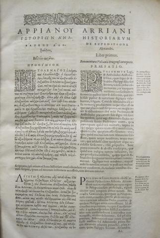 ARRIANUS, FLAVIUS. 86-160. De expedit. Alex. magni, historiarum libri VIII. * BOUND WITH: APPIAN OF ALEXANDRIA. Rom. historiarum. [Geneva]: Henri Estienne, 1575-1592.
