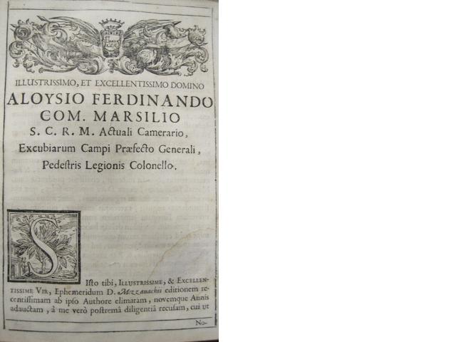 ALMANAC. MEZZAVACCA, FLAMINIO. Otia sive ephemerides felsineae ... ab anno 1701 ad totum annum 1720. Bologna: C. Pisarius for L.M. Ruinetti, 1701.