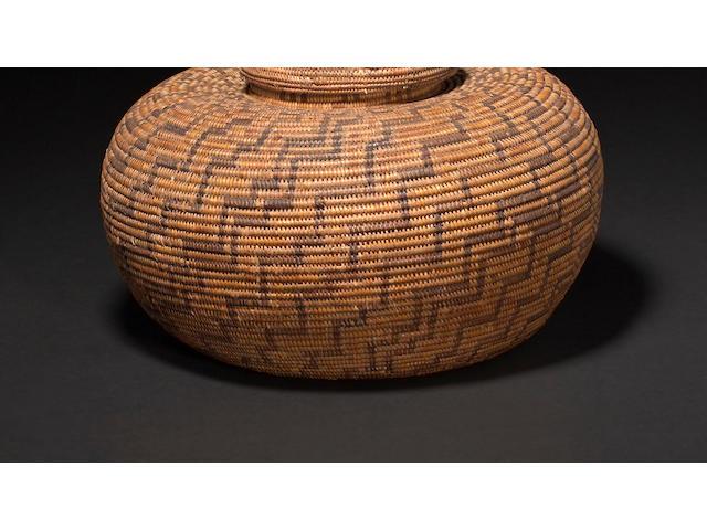 A Chumash lidded polychrome bottleneck basket