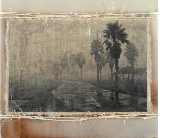 Helen K. Garber, Bike Path Fog, 2011, archival pigment photograph on handmade paper with twine and encaustic on antique wood panel (from Acres of Books, Long Beach, CA)