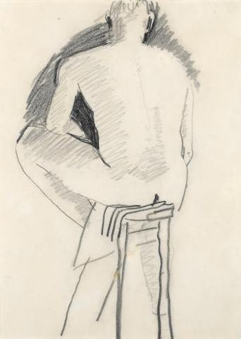 David Park (American, 1911-1960) Man Sitting on Stool, Seen from the Back 11 x 8 1/4in