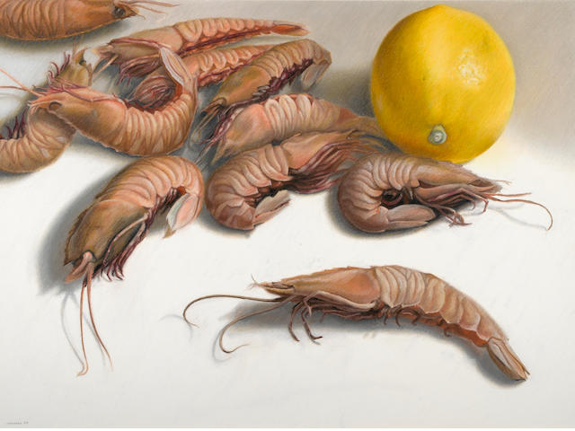 Mary Ann Currier, Rock shrimp, 1985, oil pastel/museum bd, 36 x 47 1/2in
