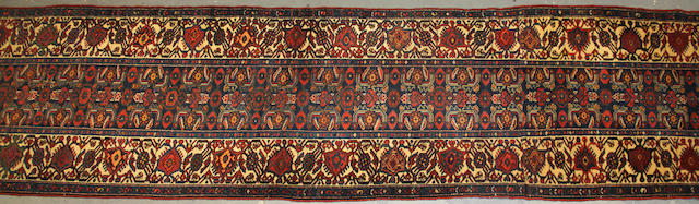 A Kurdish Bidjar runner size approximately 3ft. 6in. X 21ft. 5in.