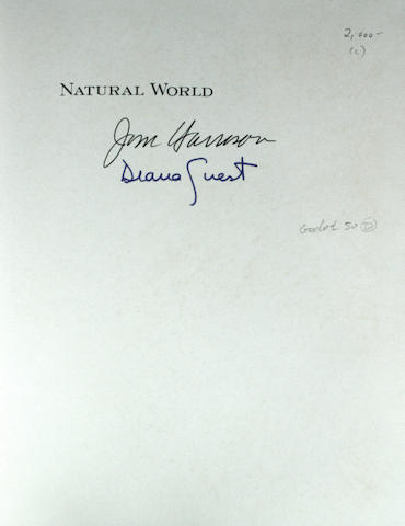 HARRISON, JIM & DIANA GUEST. Natural World, A Bestiary. [Barrytown, NY]: Open Book Publications, [1982].