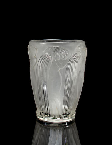 A René Lalique molded and frosted glass vase: Danaïdes Marcilac 972, model introduced 1926