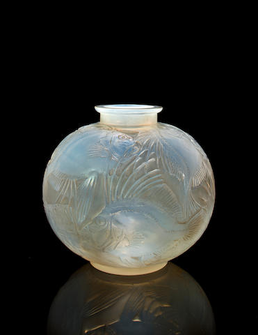 A René Lalique molded opalescent glass vase: Poissons Marcilhac 925, model introduced 1921