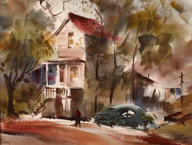 Harold Gretzner, 6010 Pinewood Drive, Oakwood, watercolor on paper