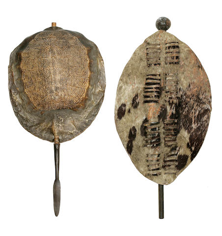Assegai Spear and Shield and a Knobkerrie and Shield, Zulu, South Africa