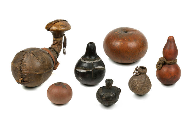 Seven Miscellaneous Shona, Zulu and Nguni Snuff Containers, South Africa