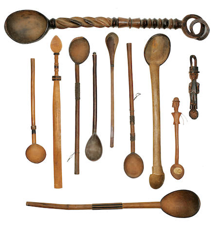 Miscellaneous Group of Eleven Wood Spoons, Tsong, Zulu and Nguni, South Africa