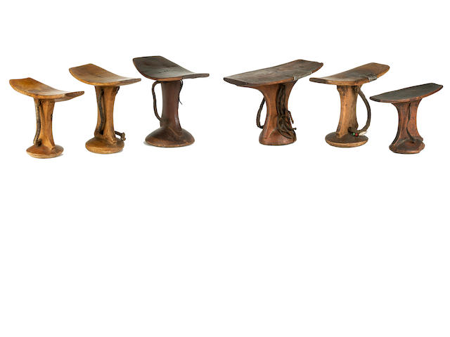 Miscellaneous Group of Six Headrests, South Africa