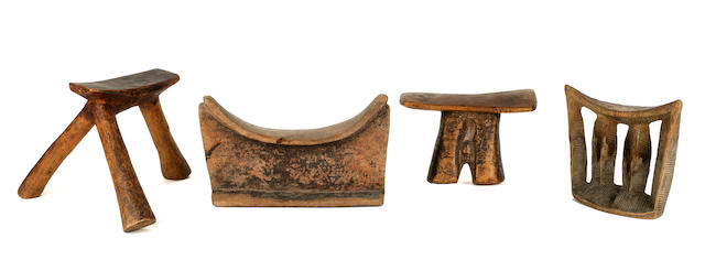Miscellaneous Group of Four Headrests, South Africa