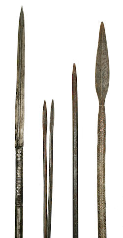 Three Zulu Assegai Spears and a Pair of Smoking Tongs, South Africa