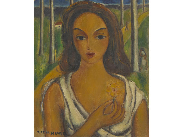 Victor Manuel (1897-1969) Portrait of a woman holding a flower 18 1/2 x 15 3/4in. (47 x 40cm)