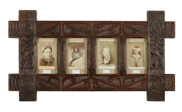 Four Rare Carte-De-Visites Photographs in Maori Frame, New Zealand