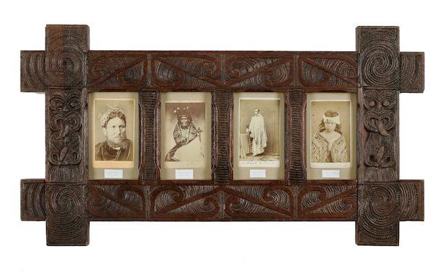 Four Rare Carte-De-Visites Photographs in Maori Frame, New Zealand