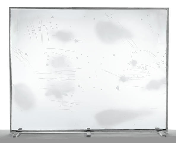 Michael Heizer (born 1944) Sandblasted Etched Glass Window, 1974 window 83 x 107 x 1/8in (210.8 x 271.8 x 0.3cm)  with frame 86 1/2 x 109 1/2 x 22 1/2in (219.7 x 278.1 x 57.2cm)
