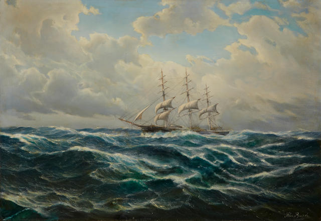 Alex Breede (American) The peerless clipper ship, Flying Cloud<BR /> 25-1/2 x 36-1/4 in. (64.7 x 92 cm.)