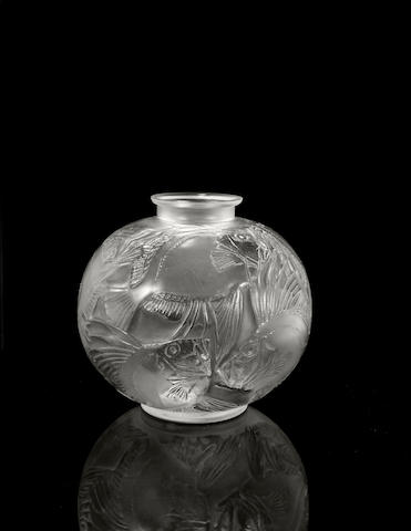 A René Lalique molded glass vase: Poissons Marchilhac 925, model introduced 1921