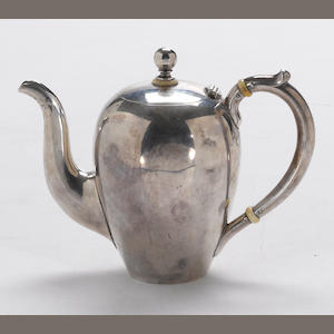 A Russian 84 standard silver canopic coffee pot Maker's mark: (Cyrillic) EK, St. Petersburg, circa 1896-1908