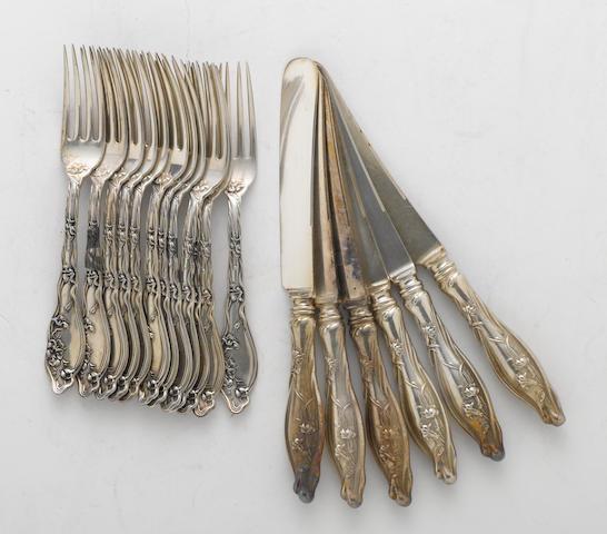 A sterling set of twelve dessert forks International Silver Co., Meriden, CT  Mille Fleurs  (18)