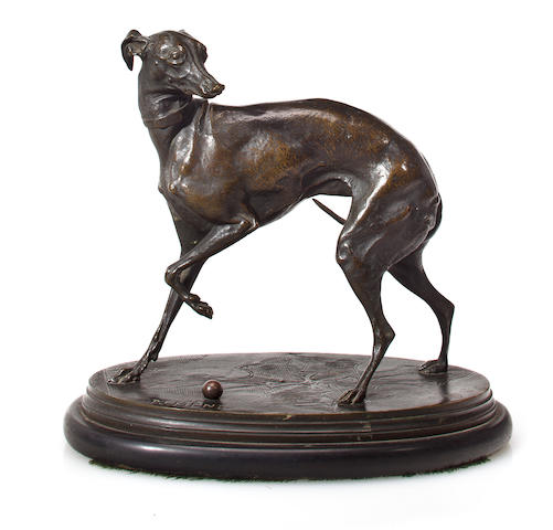 Pierre Jules Mene (French 1810-1879) Whippet with a Ball on Carpet (jiji) bronze, brown patina