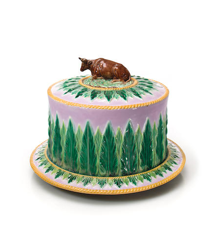 A George Jones majolica covered cheese dome<BR />second half 19th century