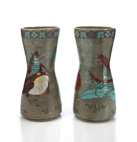 A pair of Japanese enameled earthenware vases decorated with frogs
