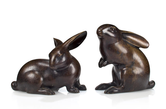 A pair of Japanese bronze rabbits
