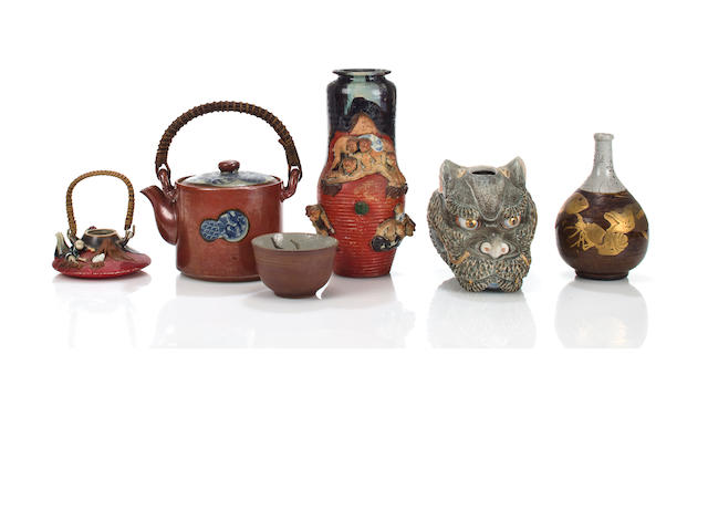 Group of six Japanese ceramics