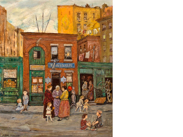 Jerome Myers (American, 1867-1940) Shops in Harlem, N.Y.C. 24 x 19 7/8in