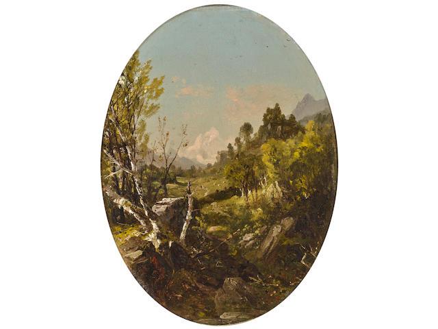 John Frederick Kensett (American, 1816-1872) Valley landscape oval 13 1/4 x 10in