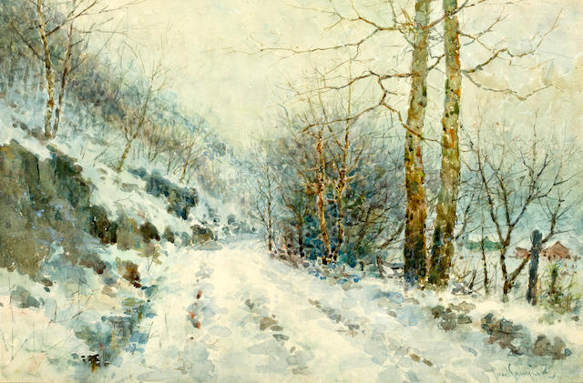 Paul Sawyier (American, 1865-1917) Winter road 11 5/8 x 17 1/2in