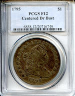 1795 Draped Bust $1, Centered Bust, Fine 12 PCGS