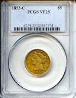 1853-C $5 VF25 PCGS