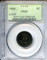 1866 5C J-520 PR60 R.8