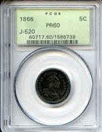 1866 Pattern 5C, Judd-520, Pollock-547, R.7-8, Proof 60 PCGS
