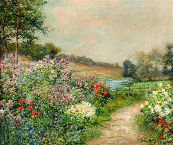 Louis Aston Knight (American, 1873-1948) Flower path, Cannan, France 18 1/4 x 21 7/8in