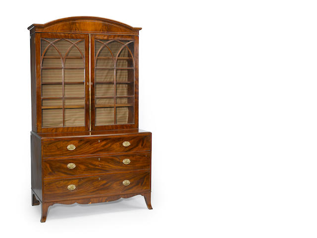 A Federal mahogany bookcase chest<BR />New England<BR />late 18th century