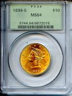 1899-S $10 MS64 PCGS
