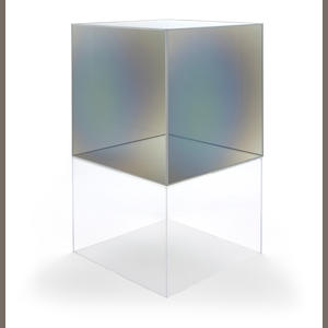 Larry Bell (American, born 1939) Series II Cube, 1985/2012 30 x 30 x 30in . height with base 53 1/2in